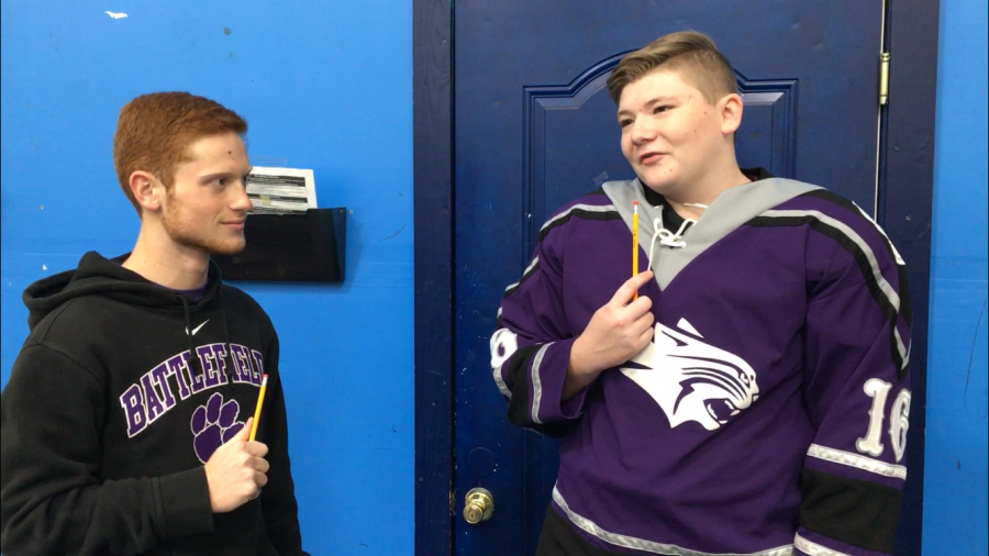 Alex+Young+interviews+Connor+Owen+during+Episode+1+of+Pencil+Talk%2C+which+focused+on+the+Varsity+Hockey+Team