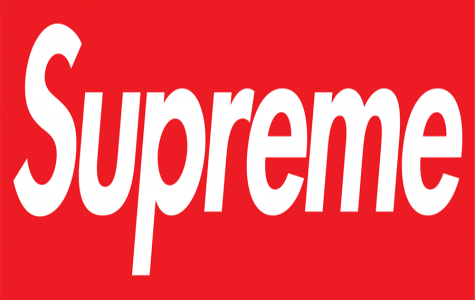 The classic supreme logo seen on stickers, clothing, and other items.