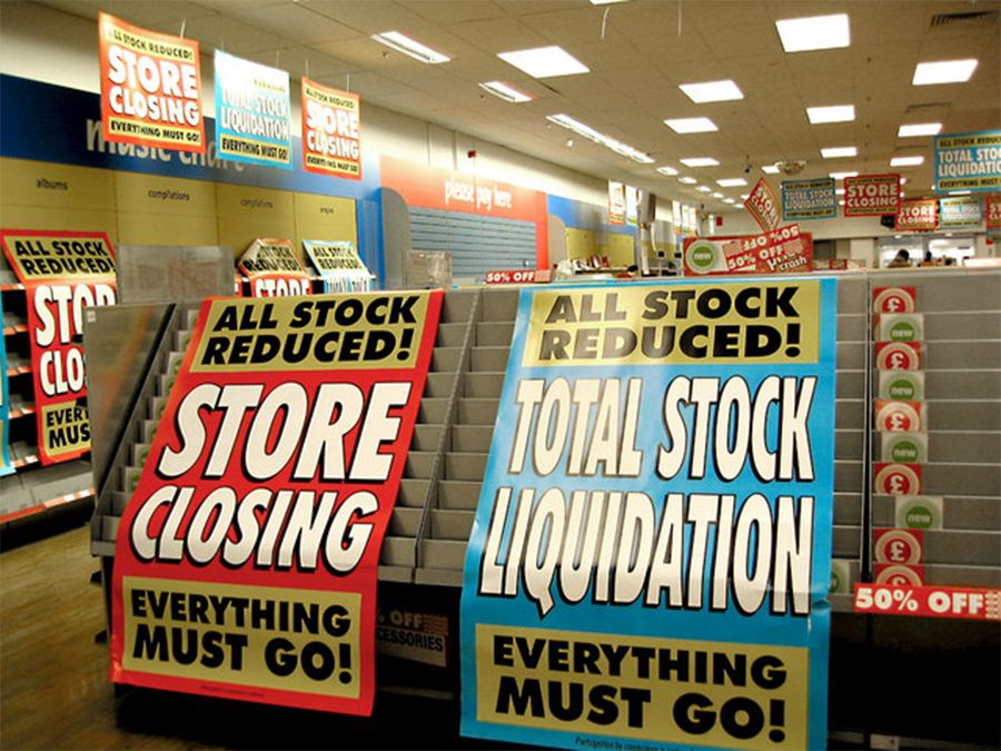 Retail store going out of business. Photo courtesy of Wikimedia Commons via Creative Commons.