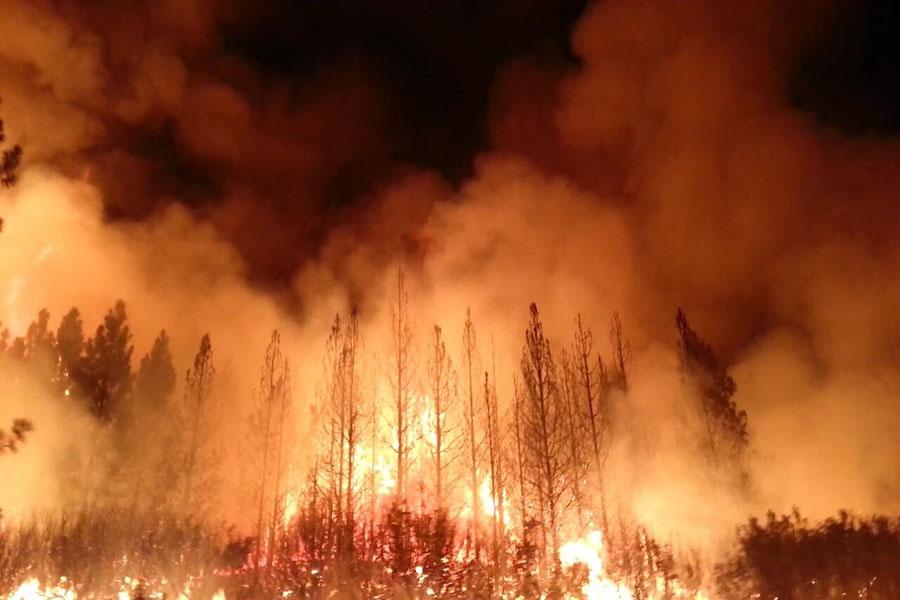 A wildfire in California.  Courtesy of Wikipedia via Creative Commons