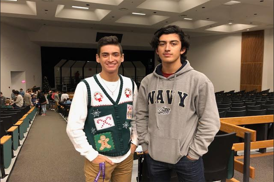 Seniors Sean Hoffman (left) and Matt Collins (right), contestants in Battlefield's second annual Mr. Battlefield competition, pose together the day of the winter chorus concert.