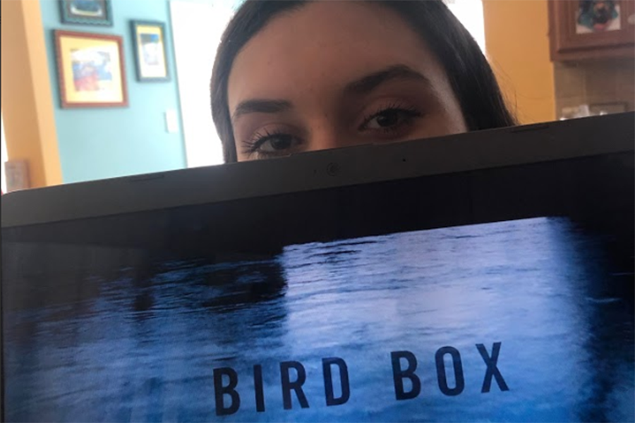 Battlefield student poses with a computer streaming Bird Box on Netflix