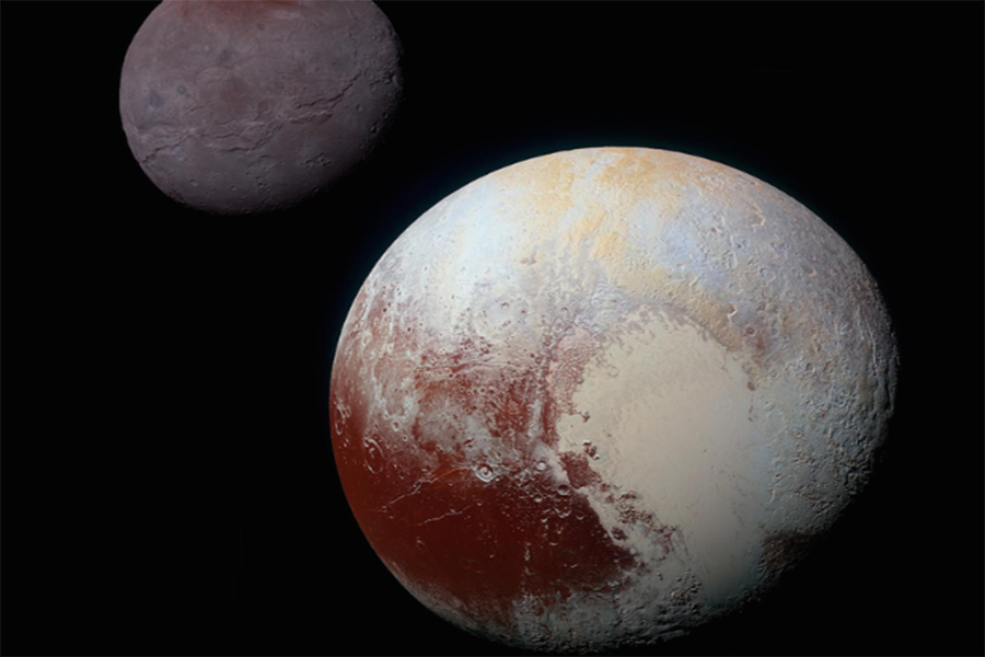 A photo of Pluto and Charon, which is Pluto's largest moon, taken by New Horizons