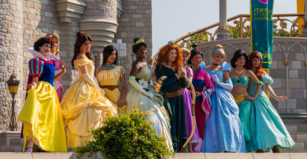 The Disney Princess lineup at Merida's coronation, including disputed character Mulan. Photo courtesy of Flickr via Creative Commons.
