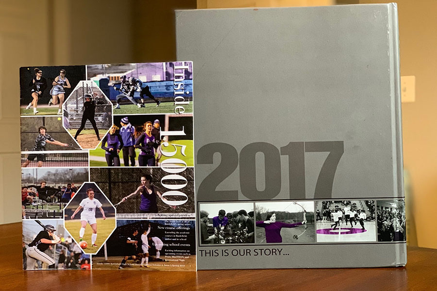 Photo of journalism magazine and 2017 yearbook, both created by the students in those electives. Photo courtesy of Madison Thorpe.