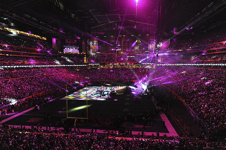 The Super Bowl halftime show,  Picture courtesy of Wikimedia Commons
