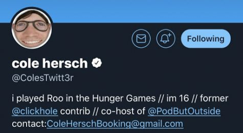 Cole Hersch's Twitter page with the username @ColesTwitt3r. Photo by Ashley Donohoe.