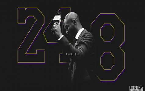Kobe Bryant in front of his two numbers, Photo courtesy to Flickr via Creative Commons