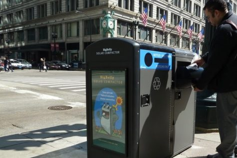 """Big belly solar trash contractor and recycling bin at state/Rudolph"" by Zolk, Courtesy of Creative Commons"