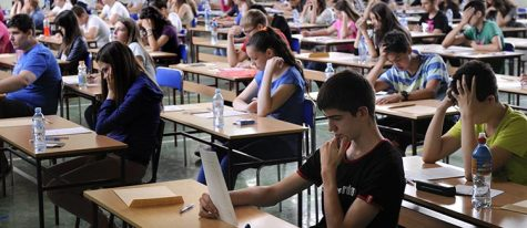 Students taking the SAT test.